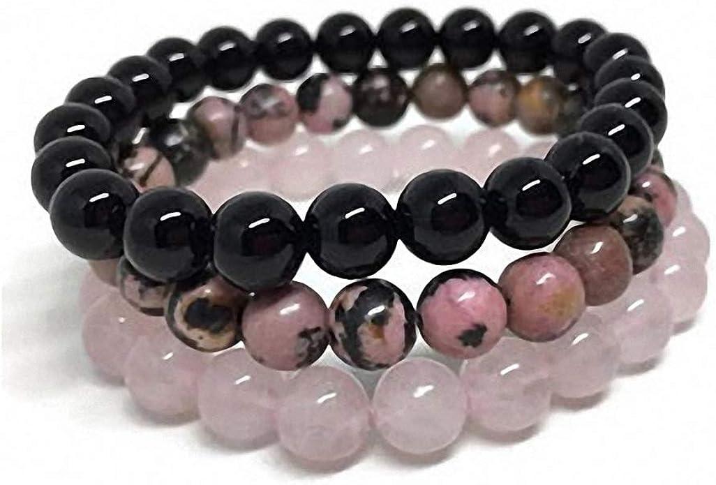 Natural stone pink white beaded bracelet bracelets
