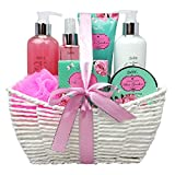 Gift Baskets for Women, Relaxing Bath Spa Kit, Bath And Body Set - Rose Garden Aromatherapy Spa Gift Basket Includes Body Lotion, Bubble Bath, Body Scrub, Bath Puff, Bath Salt And A Body Butter