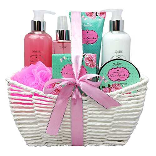 Gift Baskets for Women, Relaxing Bath Spa Kit, Bath And Body Set - Rose Garden Aromatherapy Spa Gift Basket Includes Body Lotion, Bubble Bath, Body Scrub, Bath Puff, Bath Salt (Set Gift Basket Body Lotion)