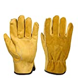 QEES Professional Leather Gardening Gloves Rose Pruning Gloves, Thornproof Garden Gauntlet Gloves for Flower Planting, Pruning, Men's Leather Driver Gloves Work Gloves YLST15 (L: 7.5' length)