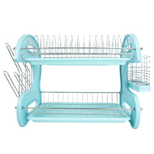 Home Basics Plastic Dish Drainer, 2-Tier (Turquoise) - smallkitchenideas.us
