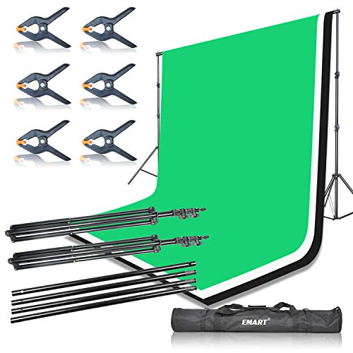 Emart Portable Photo Studio 9.2x10ft Background Support System with 3 Color Muslin Backdrops (Green Black White, 10ft X 12ft) for Portrait, Product Photography and Video Shooting by EMART (Image #7)