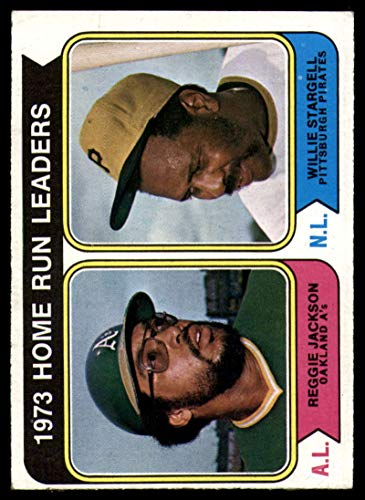 Baseball MLB 1974 Topps #202 Reggie Jackson/Willie Stargell Home Run Leaders VG Very Good