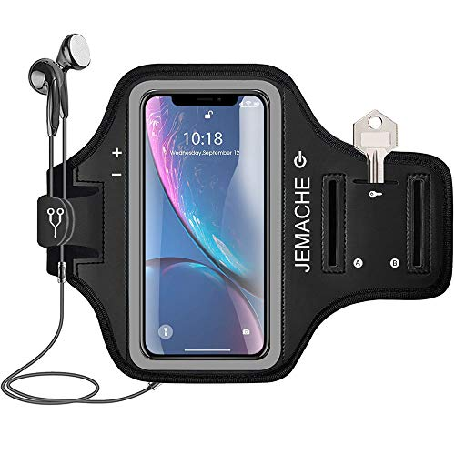 (iPhone XR Armband, JEMACHE Water Resistant Gym Running Workout/Exercise Arm Band Case for iPhone XR (6.1