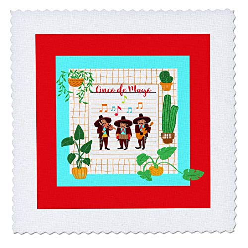 (3dRose Beverly Turner Cinco De Mayo Design - Cinco De Mayo Musicians, Framed with Cactus and Leaf Plants - 8x8 inch Quilt Square (qs_302902_3))