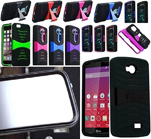 [ NP ARMOR ] BUILT IN SCREEN GUARD PROTECTOR Faceplate Phone Cover Case For LG TRIBUTE / LS660 LS660P MS395 / LG Optimus F60 / LG Transpyre VS810PP ()