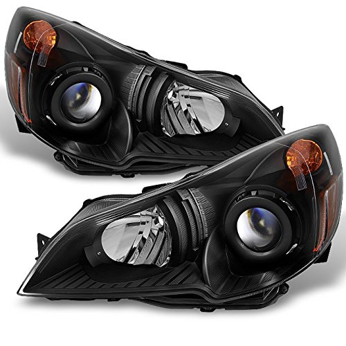 [Subaru Legacy | Outback Black Headlights Head Lamps Driver Left + Passenger Right Side Replacement] (Subaru Legacy Headlight Headlamp)