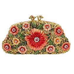 Gold Plated Floral Clutch With Swarovski Crystals