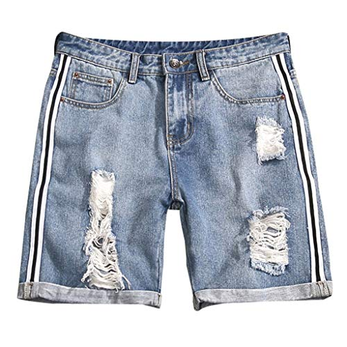 iHPH7 Jeans Shorts Moto Biker Ripped Distressed Denim Shorts with Broken Hole Fashion Pocket Casual Slim Short Sweatpants Jeans Trousers Pants Men's (XXL,6- Light Blue)