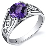 Amethyst Cathedral Ring Sterling Silver 1.25 Carats Size 7