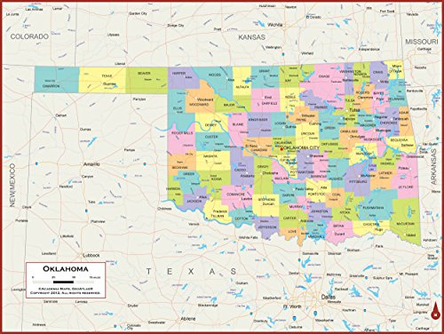 60 x 45 Giant Oklahoma State Wall Map Poster with Counties - Classroom Style Map with Durable Lamination - Safe for Use with Wet/Dry Erase Marker - Brass Eyelets for Enhanced Durability ()