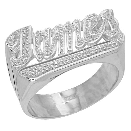 SNS115 Personalized Sterling Silver Large Script Letter Precious Hand Carving Accent Name Ring (sterling-silver, 7) Sterling Silver Script Name Ring