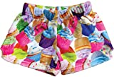 iscream Big Girls Silky Soft Print Plush Shorts - Colorful Cupcakes, Small