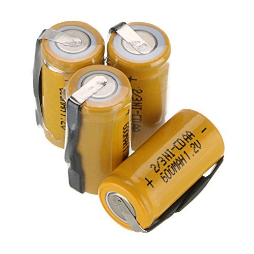 WindMax® US SELLER 4 Pieces Ni-CD 1.2V 2/3AA 600mAh Rechargeable Battery NICD Batteries For Phone Toy