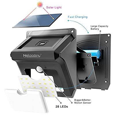 Neloodony Wireless Solar Lights Outdoor 28 LEDs Motion Sensor Security Powerful Safelight for Outside Garden, Patio, Yard, Pathway, Pool Waterproof &Weatherproof (Pack of 4)