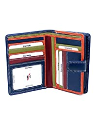 Starhide Ladies Women Real Leather Wallet Large Zip Coin Purse 5535 Blue/Multi