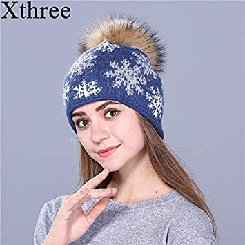 HOKUGA natural mink pom poms wool rabbit fur knitted hat Christmas snow  Skullies winter hat for 1d551f6bf227