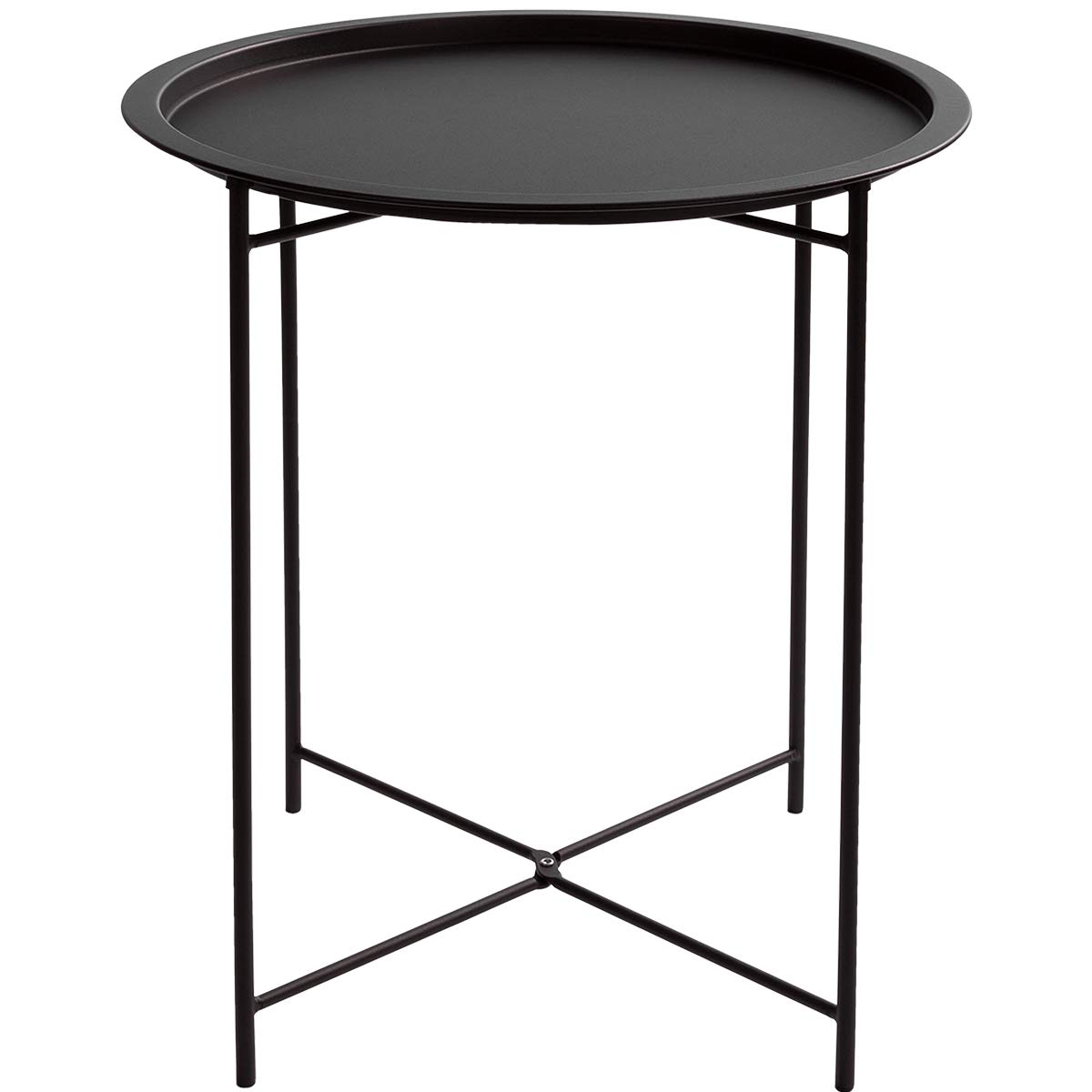 HollyHOME Folding Tray Metal Side Table, Sofa Table Small Round End Tables, Anti-Rust and Waterproof Outdoor or Indoor Snack Table, Accent Coffee Table,(H) 20.28'' x(D) 18.11'', Frosted Black by HollyHOME