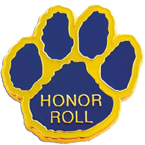 Honor Roll Lapel Pin - Set of 100 Mascot Pins - Honor Roll Paw (Blue/Gold)