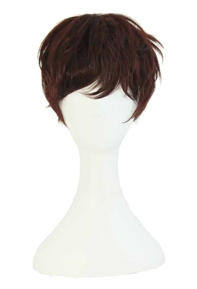 MapofBeauty 10 Inch/25cm Fashion Girl Natural Short Curly Wigs-Dark Brown-Ladies