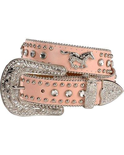 Nocona Girls' Rhinestone Running Horse Concho Leather Belt Pink 18