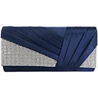 Jubileens Womens Elegant Pleated Satin Crystal Fashion Clutch Evening Bag Purse
