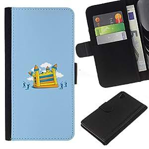 """JackGot ( Divertido Ataque Castillo"""" ) Sony Xperia Z4v / Sony Xperia Z4 / E6508 la tarjeta de Crédito Slots PU Funda de cuero Monedero caso cubierta de piel"""