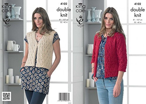 King Cole Ladies Cardigan & Waistcoat Baby Alpaca Knitting Pattern 4102 DK by King Cole by King Cole