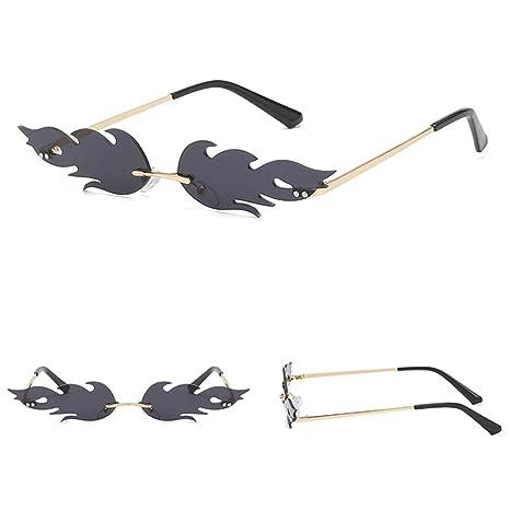 Kylewo Gafas de Sol de Las Mujeres- Gafas de Sol Creativas en Forma de Llama Gafas de Sol de Metal para Mujer para Hombre, Gafas de Sol de Estilo Punk ...