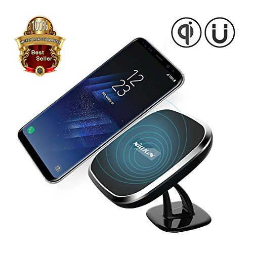 Price comparison product image Wireless Charger, Nillkin [2nd Generation] Vehicle-Mounted 2-in-1 Qi Charging Pad Magnetic Car Mount for Galaxy S8/S8 Plus All Qi-Enabled Devices - Black (Model C)