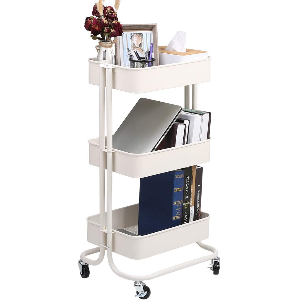 Racksphile 3-Tier Metal Rolling Storage Cart Multifunction Heavy Duty Rolling Utility Cart with Lockable Wheels Mesh Baskets Trolley Organizer Cart for Bathroom Kitchen Kids' Room Laundry Room (White) by Rackaphile