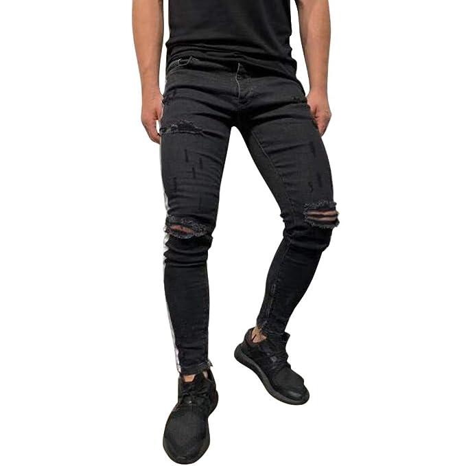 e0b754624b Mymyguoe Jeans Hombre Skinny Rotos jjeans Hombre Skinny Negro eans Hombre  Slim fit Pantalones Vaqueros Ajustados nuevos Pantalones Ajustados de  pantalón ...
