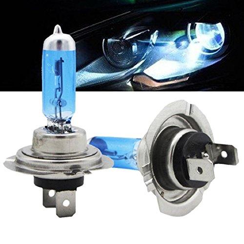 Naladoo Car Accessory,2pcs Bright H7 55W 12V 6000K Xenon Gas Halogen Headlight White Light Lamp Bulbs