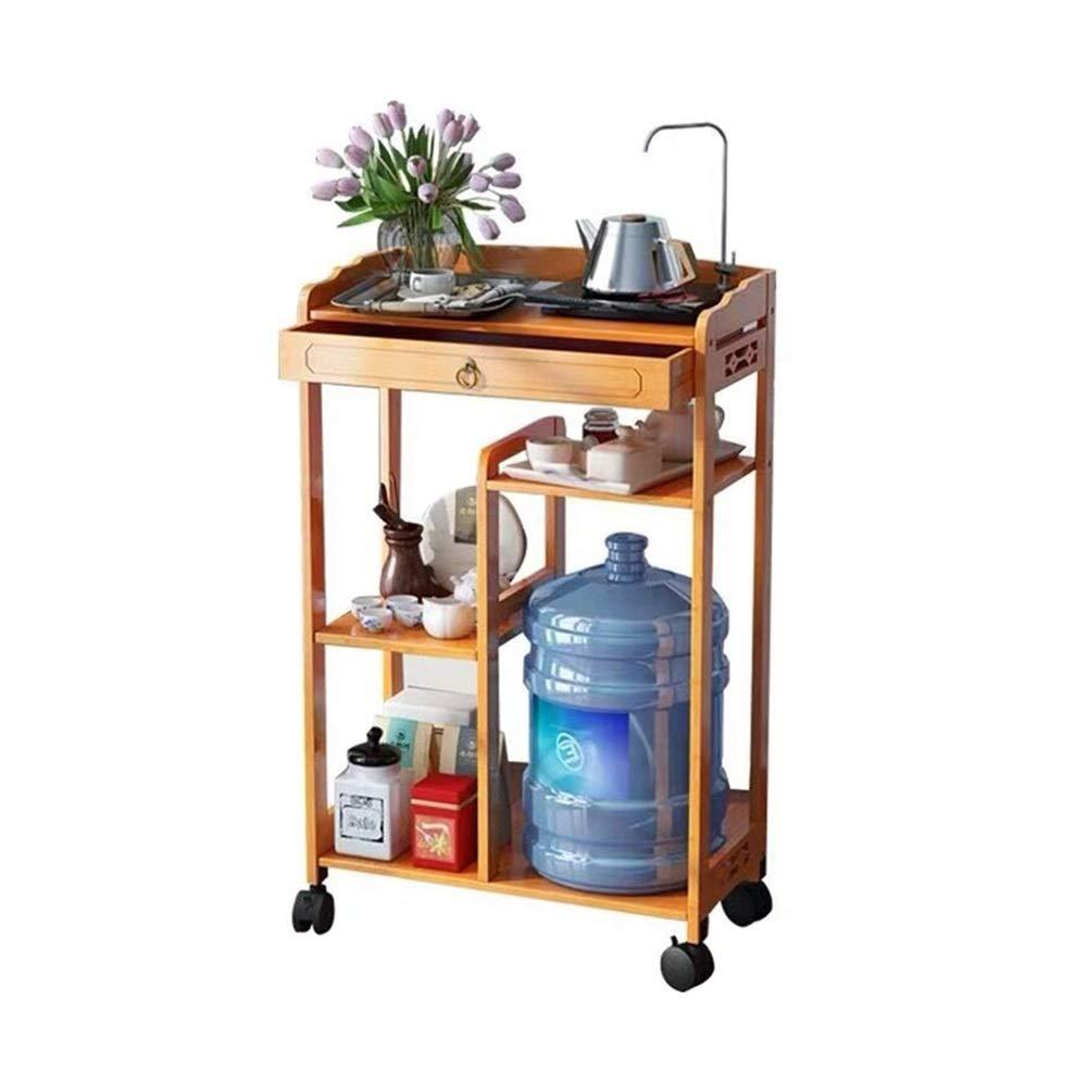 LJJL 狭いトロリー、純木リムーバブルプーリーリビングルームキルティング収納オーガナイザー浴室棚キッチン収納トロリー (Color : A) B07T88GZRR A