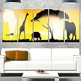 Designart MT13054-401 African Wildlife Panorama - African Wall Art Glossy Metal Wall Art,Yellow,60x28