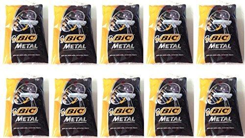 Bic Metal Disposable Men's Shaving Razors, 10-Count x 10 Packs