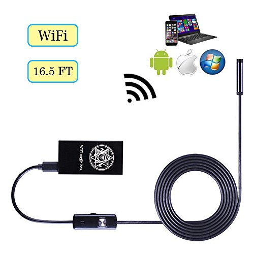 Cainda Wireless Endoscope Inspection Camera for Android IOS Windows, Borescope Camera with WiFi Box 5.5mm Lens 5M(16.5FT) Rigid Cable IP67 Waterproof - Micro Inspection Camera Accessories