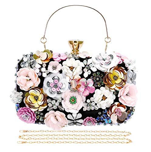 Colorful Floral Clutch Purse Evening Bag for Women Formal Party Handbag