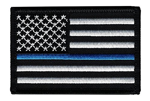 Thin Blue Line American Flag Tactical Velcro Patch - Law Enforcement (Police Patch Officer)