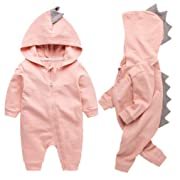 Newborn Baby Boys Girls Cartoon Dinosaur Hoodie Romper Onesies Jumpsuit Outfits Size 3-6Months/66 (Pink)