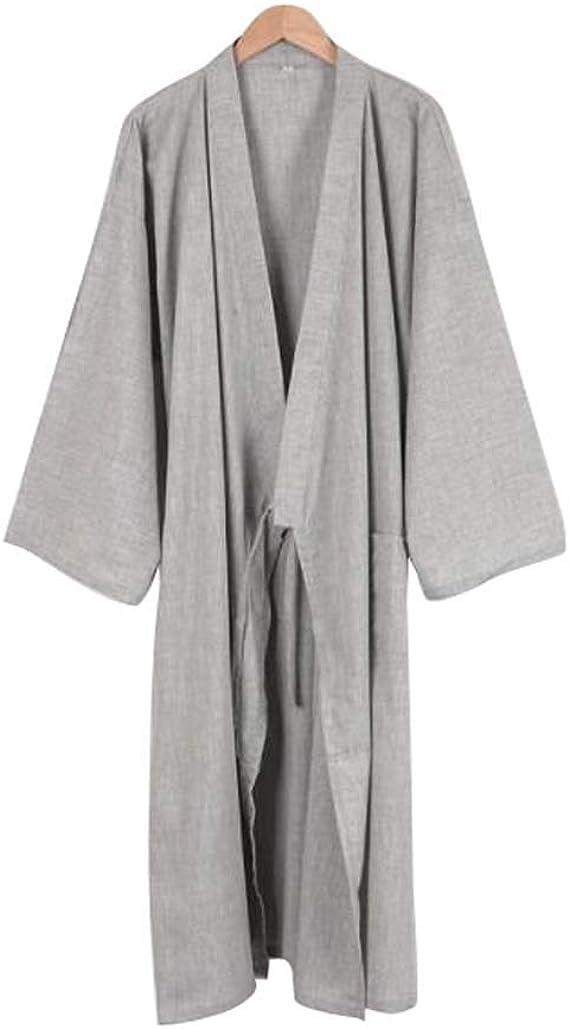 Kimono japonés Hombres Largo Yukata algodón Pijamas Batas Falda Vestido, B05: Amazon.es: Ropa y accesorios