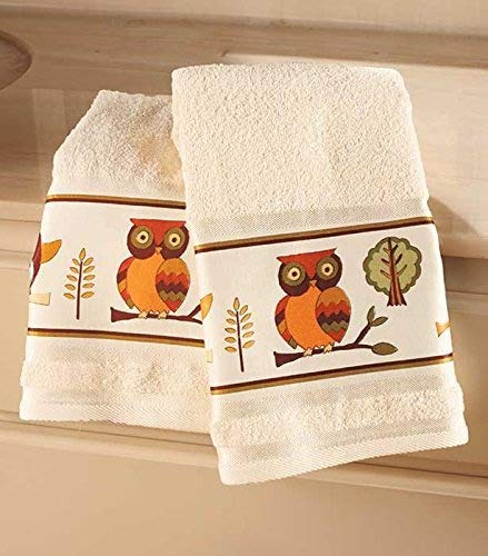 Set of 2 Owl Bathroom Hand Towels by GetSet2Save