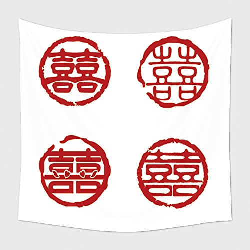 Home Decor Tapestry Wall Hanging Traditional Seal For Chinese Wedding And Happy Event 47718346 for Bedroom Living Room Dorm (Downtown La Halloween Events)