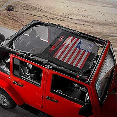 RT-TCZ Sunshade Mesh Shade Top Cover US Flag Durable Sun Shade for Jeep Wrangler 2007-2020 JK JKU 4 Door Black Red US Flag: Automotive