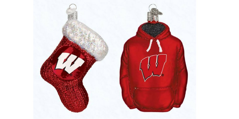 Old World Christmas Wisconsin Hoodie and Wisconsin Stocking Set of Glass Blown Ornaments by