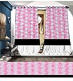 Davishouse Elephant Blackout Window Curtain Kids Girls Design Pattern with Happy Baby Animals Joyful Fun Playing Dots Customized Curtains Pink Baby Blue