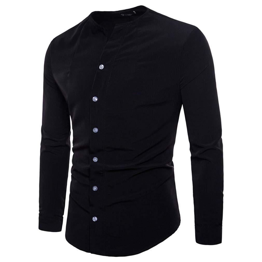 Okpeace Mens Slim Fit Collarless Dress Shirt Long Sleeve Button Down