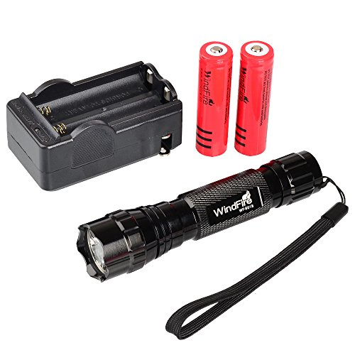 WindFire New Super Bright Wf-501b Cree Xm-l T6 LED 1000 Lumens 1 Mode 3.7-18v Flashlight plus 2x WindFire 4000mAh 18650 Rechargeable Batteries and Smart AC Charger