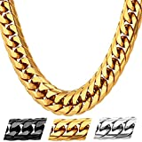 U7 Men Hip Hop Chunky Chain Stainless Steel/Black Gum/18K Gold Plated Jewelry Necklace ,4 Length,12mm Wide