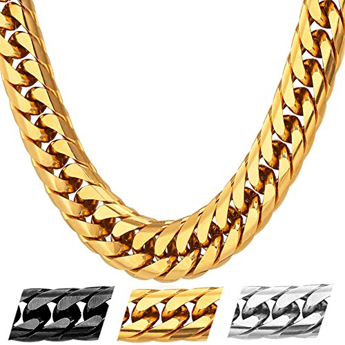 U7 Men Hip Hop Chunky Chain Stainless Steel/Black Gum/18K Gold Plated Jewelry Necklace,4 Length,12mm Wide